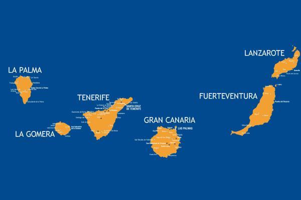 Cartina Delle Canarie.Canarie Mappa E Descrizione 7 Isole Piu Grandi Dell Arcipelago